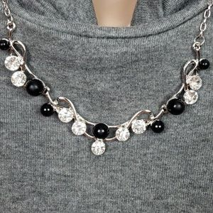1317 New Necklace w/Earrings Silver Black CZ's